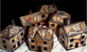 "The Houses (Small) #8–13 (Wood, Paper, Acrylic, 1995, 10x6x12"")"
