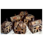 """The Houses (Small) #8–13 (Wood, Paper, Acrylic, 1995, 10x6x12"""")"""