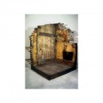 """Unfrequented Threshold (Wood, Plaster, Mixed Media, 1995, 38x38x60"""")"""