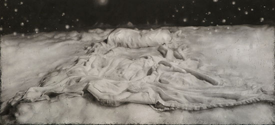"""Tracy Templeton Exhibitions (Quietly in Snow (2016, 22x42"""", Digital Etching Monotype))"""