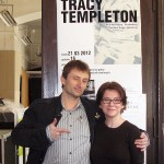 Tracy Templeton with Colleague in Front of Exhibition Poster in Warsaw, Poland